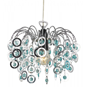 Contemporary Waterfall Pendant Shade with Teal Beads
