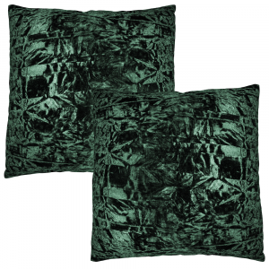 """Contemporary Forest Green Crushed Velvet Fabric Cushion Pair 18"""" x 18"""""""