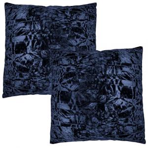 "Contemporary Midnight Blue Crushed Velvet Fabric Cushion Pair 18"" x 18"""
