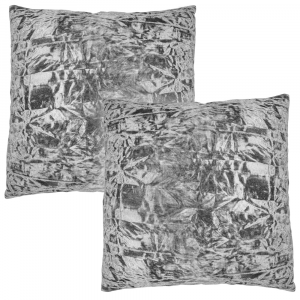 "Modern Striking Silver Quality Crushed Velvet Fabric Cushion Pair 18"" x 18"""