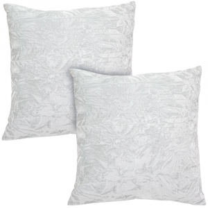 """Contemporary Arctic White Quality Crushed Velvet Fabric Cushion Pair 18"""" x 18"""""""