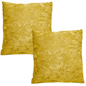 """Contemporary Bright Ochre Quality Crushed Velvet Fabric Cushion Pair 18"""" x 18"""""""