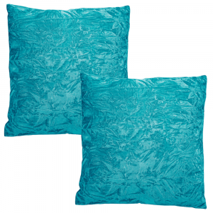 """Contemporary Vivd Teal Quality Crushed Velvet Fabric Cushion Pair 18"""" x 18"""""""