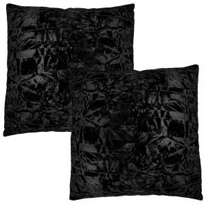 "Contemporary Jet Black Quality Crushed Velvet Fabric Cushion Pair 18"" x 18"""