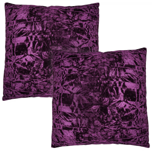 "Contemporary Deep Purple Quality Crushed Velvet Fabric Cushion Pair 18"" x 18"""