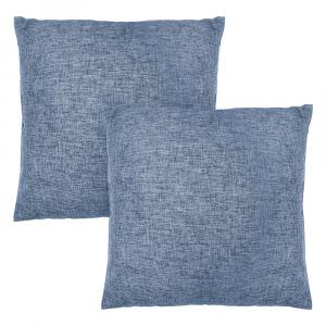 "Modern Midnight Blue High Quality Woven Linen Fabric Cushion Pair 18"" x 18"""