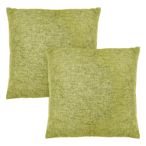 """Contemporary Olive Green High Quality Woven Linen Fabric Cushion Pair 18"""" x 18"""""""