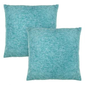 "Contemporary Vivid Teal High Quality Woven Linen Fabric Cushion Pair 18"" x 18"""