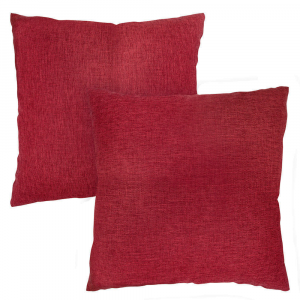 """Contemporary Burgundy Red High Quality Woven Linen Fabric Cushion Pair 18"""" x 18"""""""