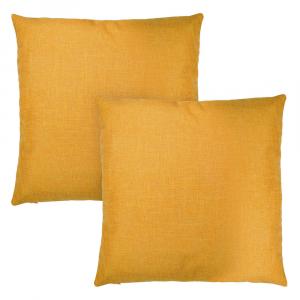 "Stylish Ochre Mustard High Quality Woven Linen Fabric Cushion Pair 18"" x 18"""