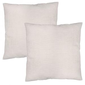 "Contemporary White High Quality Woven Linen Fabric Cushion Pair 18"" x 18"""