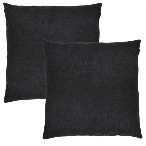 """Contemporary Jet Black High Quality Woven Linen Fabric Cushion Pair 18"""" x 18"""""""