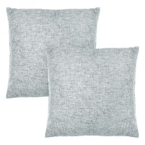 "Contemporary Light Grey High Quality Woven Linen Fabric Cushion Pair 18"" x 18"""