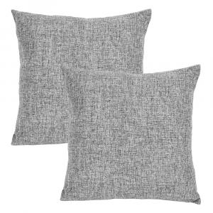 "Contemporary Dark Grey High Quality Woven Linen Fabric Cushion Pair 18"" x 18"""