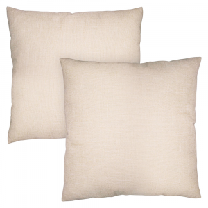 "Contemporary Cream High Quality Woven Linen Fabric Cushion Pair 18"" x 18"""