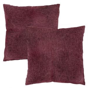 "Contemporary Deep Purple High Quality Woven Linen Fabric Cushion Pair 18"" x 18"""