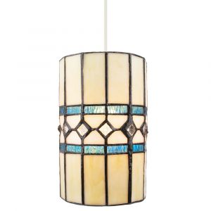 Contemporary Amber Glass Tiffany Pendant Light Shade with Bright Teal Strips