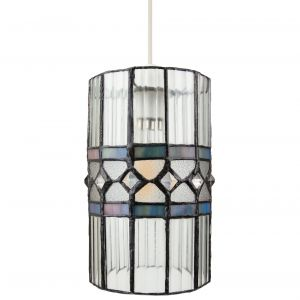 Stylish Clear Glass Tiffany Pendant Light Shade with Multi Coloured Strips