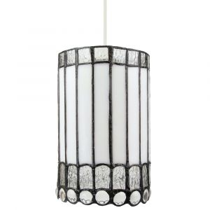 Traditional White Glass Tiffany Easy Fit Pendant Light Shade with Clear Beads