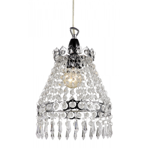 Traditional Chrome Pendant Shade with Clear Droplets