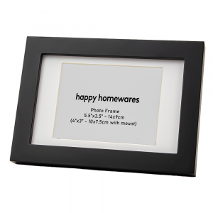 """Modern Black Wooden 5.5""""x3.5"""" Inch Photo Frame with Stand and 4""""x3"""" Mount"""