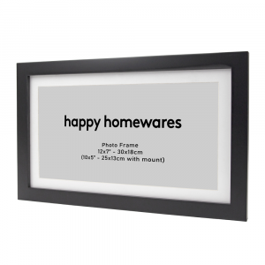 """Modern Black Wooden 12""""x7"""" Inch Wall Mount Photo Frame with 10""""x5"""" Mount"""