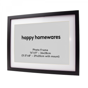"""Modern Black Wooden 14""""x11"""" Inch Wall Mount Photo Frame and 11.5""""x8"""" Mount"""