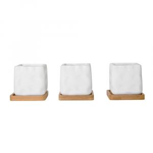 Modern Bobbled Effect White Ceramic Tabletop Plant Pot Set with Bamboo Coasters