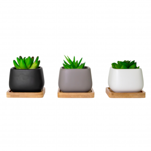 Modern Black White and Grey Decorative Tabletop Plant Pot Set w/ Bamboo Coasters