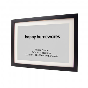 """Modern Black Wooden 14""""x10"""" Inch Wall Mount Photo Frame and 12""""x8"""" Mount"""