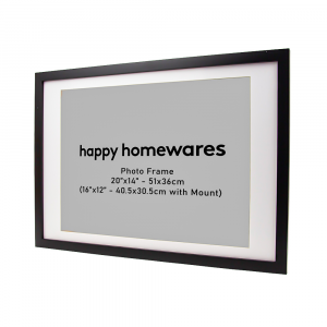"""Modern Black Wooden 20""""x14"""" Inch Wall Mount Photo Frame with 16""""x12"""" Mount"""