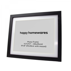 """Modern Black Wooden 11.5""""x9.5"""" Inch Photo Frame with Stand and 10""""x8"""" Mount"""