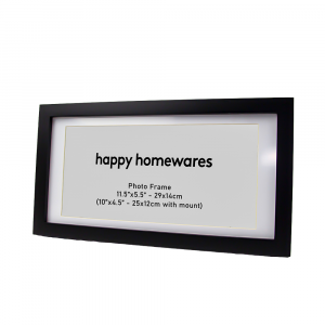"""Modern Black Wooden 11.5""""x5.5"""" Inch Wall Mount Photo Frame and 10""""x4.5"""" Mount"""