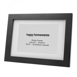 """Modern Black Wooden 6.5""""x4.5"""" Inch Wall Mount Photo Frame with 5""""x3"""" Mount"""
