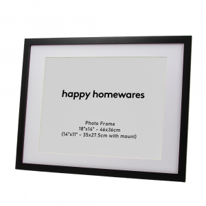 """Modern Black Wooden 18""""x14"""" Inch Wall Mount Photo Frame and 14""""x11"""" Mount"""