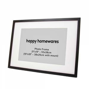 """Modern Black Wooden 21""""x15"""" Inch Wall Mount Photo Frame and 15""""x10"""" Mount"""