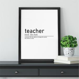 Definition of Teacher Wall Art Print | Teacher Leaving Gift | A5 w/ Black Frame