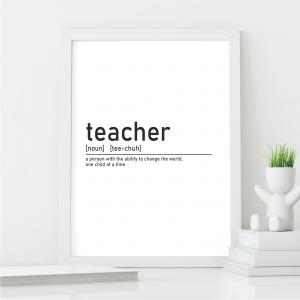 Definition of Teacher Wall Art Print | Teacher Leaving Gift | A5 w/ White Frame