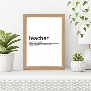 Definition of Teacher Wall Art Print | Teacher Leaving Gift | A5 w/ Oak Frame