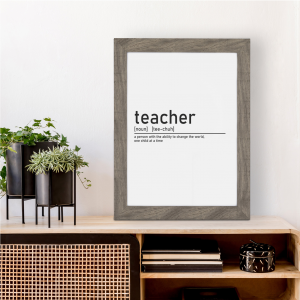Definition of Teacher Wall Art Print | Teacher Leaving Gift | A5 w/ Grey Frame