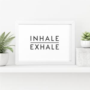 Inhale Exhale Scandi Wall Art Print | Minimalist Decor Print | A4 w/ White Frame