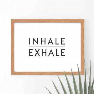 Inhale Exhale Scandi Wall Art Print | Minimalist Decor Print | A4 w/ Oak Frame