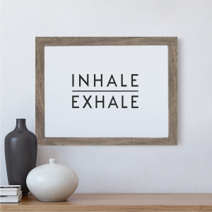 Inhale Exhale Scandi Wall Art Print | Minimalist Decor Print | A4 w/ Grey Frame