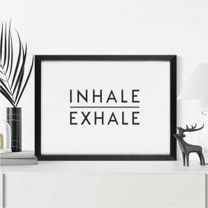 Inhale Exhale Scandi Wall Art Print | Minimalist Decor Print | A5 w/ Black Frame