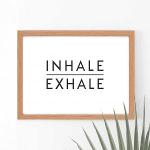 Inhale Exhale Scandi Wall Art Print | Minimalist Decor Print | A5 w/ Oak Frame