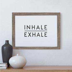 Inhale Exhale Scandi Wall Art Print | Minimalist Decor Print | A5 w/ Grey Frame