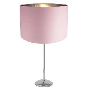 Modern Chrome Plated Stick Table Lamp with Pink Cotton Shade with Shiny Inner