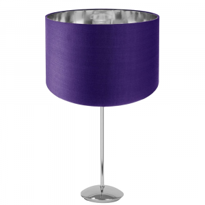Modern Chrome Plated Stick Table Lamp with Purple Cotton Shade with Shiny Inner