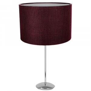 """Modern Chrome Plated Stick Table Lamp with 12"""" Purple Linen Drum Lamp Shade"""