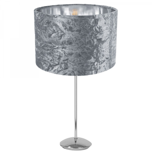 """Modern Chrome Plated Stick Table Lamp with 12"""" Silver Crushed Velvet Lamp Shade"""